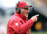 Arizona Cardinals head coach Bruce Arians yells at the officials as he complains about a no call after a second quarter end zone interception by the Pittsburgh Steelers that stops a Cardinals drive during the 2015 NFL week 6 regular season football game against the Pittsburgh Steelers on Sunday, Oct. 18, 2015 in Pittsburgh. The Steelers won the game 25-13. (©Paul Anthony Spinelli)