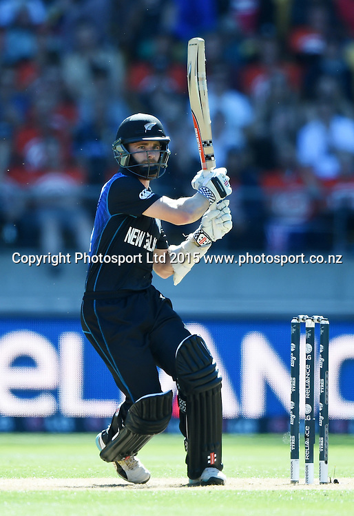 Kane Williamson batting during the ICC Cricket World Cup quarter final match between New Zealand Black Caps and the West Indies, Wellington, New Zealand. Saturday 21March 2015. Copyright Photo: Andrew Cornaga / www.Photosport.co.nz