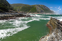 The Tsitsikamma National Park is a coastal reserve on the Garden Route in South Africa. Storms River Mouth is part of the park's 80 km long coastline.