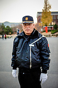 Portrait of a security guard at the gate of Keimyung University in Daegu, South Korea.