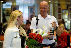 Mother and father of Saso at reception of third placed Saso Bertoncelj at European Championships in artistic gymnastics in Birmingham 2010, on April 26, 2010, at Airport Joze Pucnik, Brnik, Slovenia. (Photo by Vid Ponikvar / Sportida)