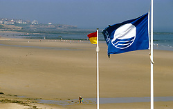 Clean beach with blue EC flag; Tynemouth Longsands; North Tyneside; NE England UK