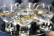 Opihr Gin at the Sail Aid UK charity dinner this evening at Land Rover BAR in Portsmouth, the home of Sir Ben Ainslie's America's Cup team. The Sail Aid UK charity was created following the devastating hurricanes that struck the Caribbean in September this year. Their mission is to help those Islands and their communities that were so tragically affected by the hurricanes to rebuild, restore, and regenerate their communities, be it through educational, health and welfare, building, or tourism promotion projects.<br /> Picture date: Saturday November 11, 2017.<br /> Photograph by Christopher Ison &copy;<br /> 07544044177<br /> chris@christopherison.com<br /> www.christopherison.com