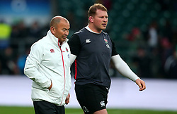 England head coach Eddie Jones stands with Dylan Hartley of England - Mandatory by-line: Robbie Stephenson/JMP - 18/11/2017 - RUGBY - Twickenham Stadium - London, England - England v Australia - Old Mutual Wealth Series