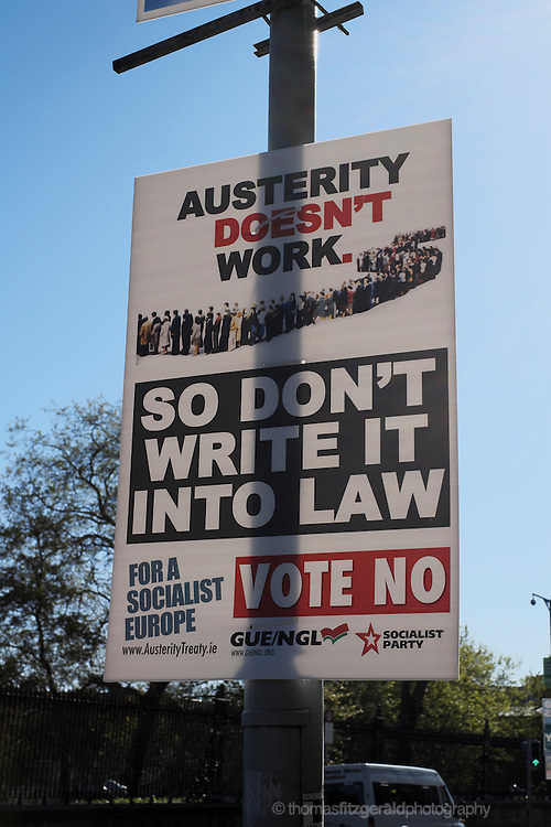 """Austerity doens't work"" poster from the Socialist Party for the upcoming Referendum in Ireland"