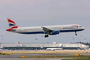 G-EUXE British Airways Airbus A321, Photographed at Malpensa (MXP / LIMC), Milan, Italy