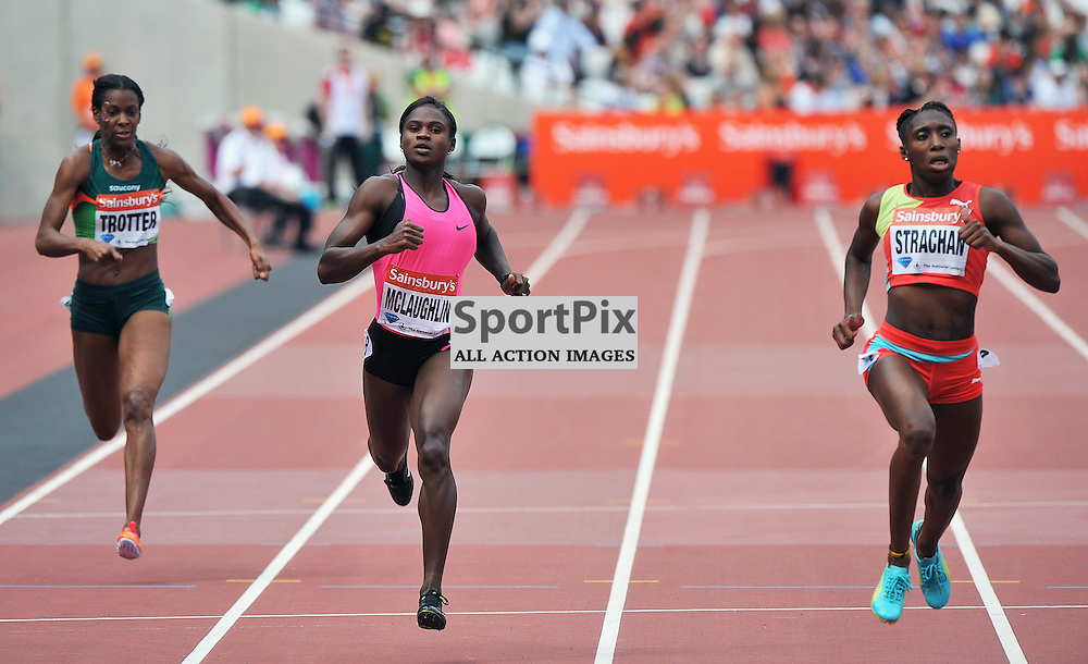 Anthonique Strachan(3rd) and Anneisha McLaughlin (4th) in the 200m final.<br /> At the IAAF Diamond League - Sainsbury's Anniversary Games held at the London Olympic Stadium, Queen Elizabeth Olympic Park, Stratford, London, UK on the 27th July 2013.<br /> WAYNE NEAL | SPORTPIX.ORG.UK