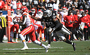 Sep 15, 2019; Oakland, CA, USA; Kansas City Chiefs wide receiver Demarcus Robinson (11) catches one of his team leading receptions over Oakland Raiders free safety Lamarcus Joyner (29)in the third quarter at Oakland-Alameda County Coliseum. The Chiefs defeated the Raiders 28-10..(Gerome Wright/Image of Sport)
