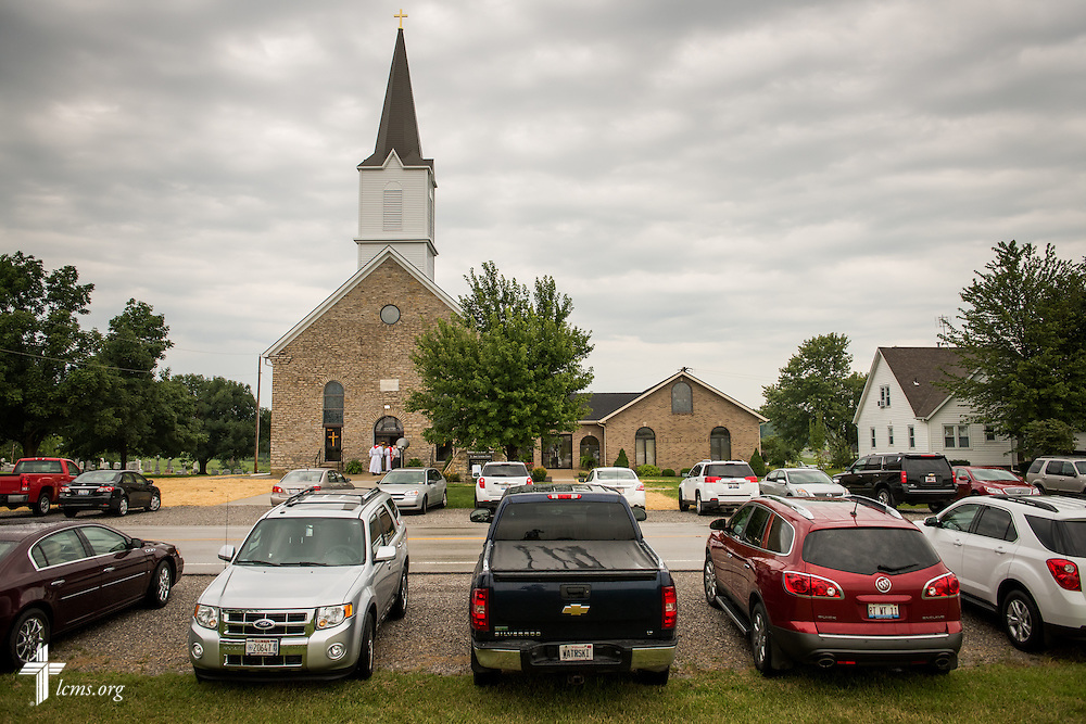 "Pastors await the start of worship on Sunday, August 9, 2015, during a ""Day of Thanksgiving and Rededication""  at St. John's Lutheran Church in New Minden, Ill. Nearly two years ago, a tornado damaged the church and surrounding homes. LCMS Communications/Erik M. Lunsford"