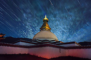 Tibet Images-Monastery-Star trails Tibet images-Golog