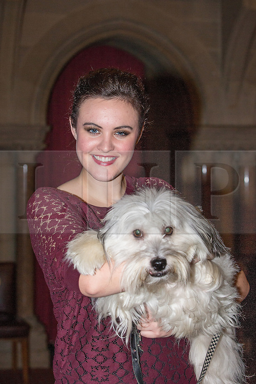 © Licensed to London News Pictures . 08/11/2013 . Manchester , UK . ASHLEIGH AND PUDSEY . Stars in front of the Key 103 brand board at Manchester Town Hall ahead of performing on stage . The Christmas lights are turned on in Manchester this evening (Friday 8th November 2013) . Photo credit : Joel Goodman/LNP