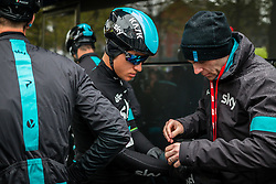 Michal Kwaitkowski (POL) of Team Sky at Liège, before the start of the 102th edition of Liège-Bastogne-Liège race running 253 km from Liège to Liège, Belgium, 24 April 2016.<br /> Photo by Pim Nijland / PelotonPhotos.com<br /> <br /> All photos usage must carry mandatory copyright credit (© Peloton Photos | Pim Nijland)