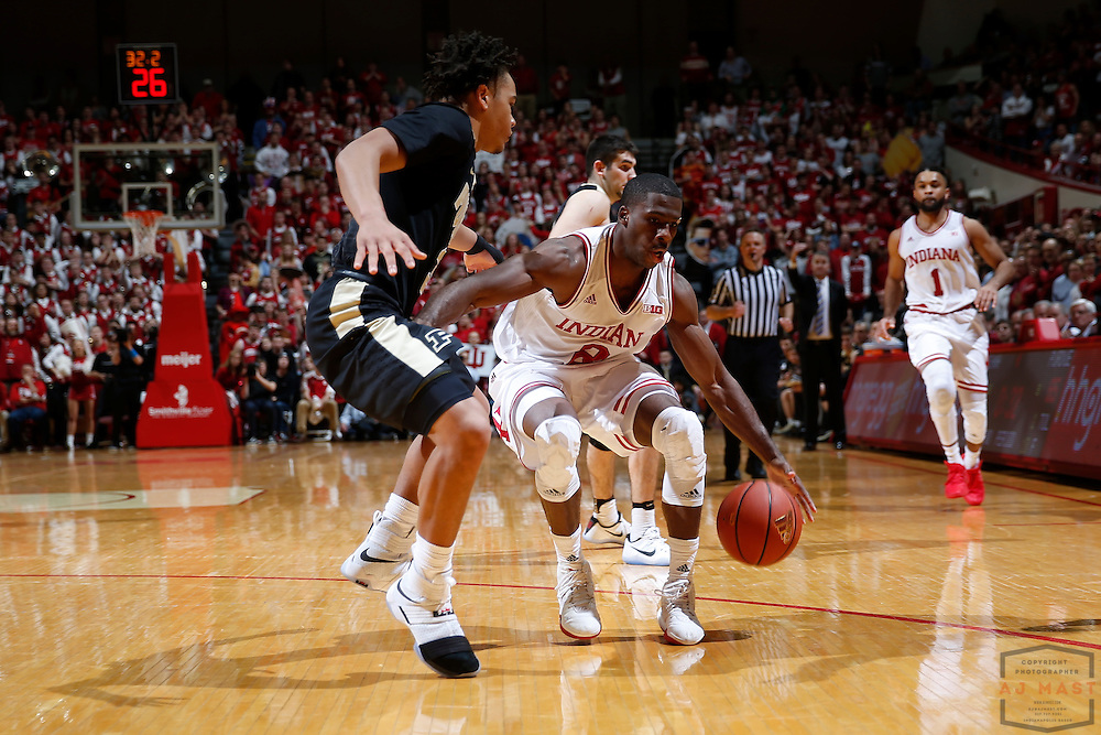 Indiana guard Josh Newkirk (2) in action as Purdue played Indiana in an NCCA college basketball game in Bloomington, Ind., Thursday, Feb. 9, 2017. (AJ Mast)