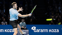 Tennis - 2017 Nitto ATP Finals at The O2 - Day Five<br /> <br /> Group Boris Becker Singles: Alexander Zverev (Germany) Vs Jack Sock (United States)<br /> <br /> Jack Sock (United States) powering his way to victory at the O2 Arena<br /> <br /> COLORSPORT/DANIEL BEARHAM