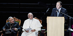 October 31, 2016 - Malm√, Sweden - Bishop Munib A. Younan, President of Lutheran World Federation, Pope Francis, Swedish Prime minister Stefan L√∂fven  are seen on stage during the 'Together in Hope' event at Malmo Arena on October 31, 2016 in Malmo, Sweden. The Pope is on 2 days visit attending Catholic-Lutheran Commemoration in Lund and Malmo.  (Credit Image: © Aftonbladet/IBL via ZUMA Wire)