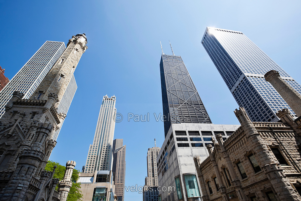 Photo of Chicago Michigan Avenue buildings including Old Chicago Water Tower, Water Tower Place, amd John Hancock Center Building along The Magnificent Mile