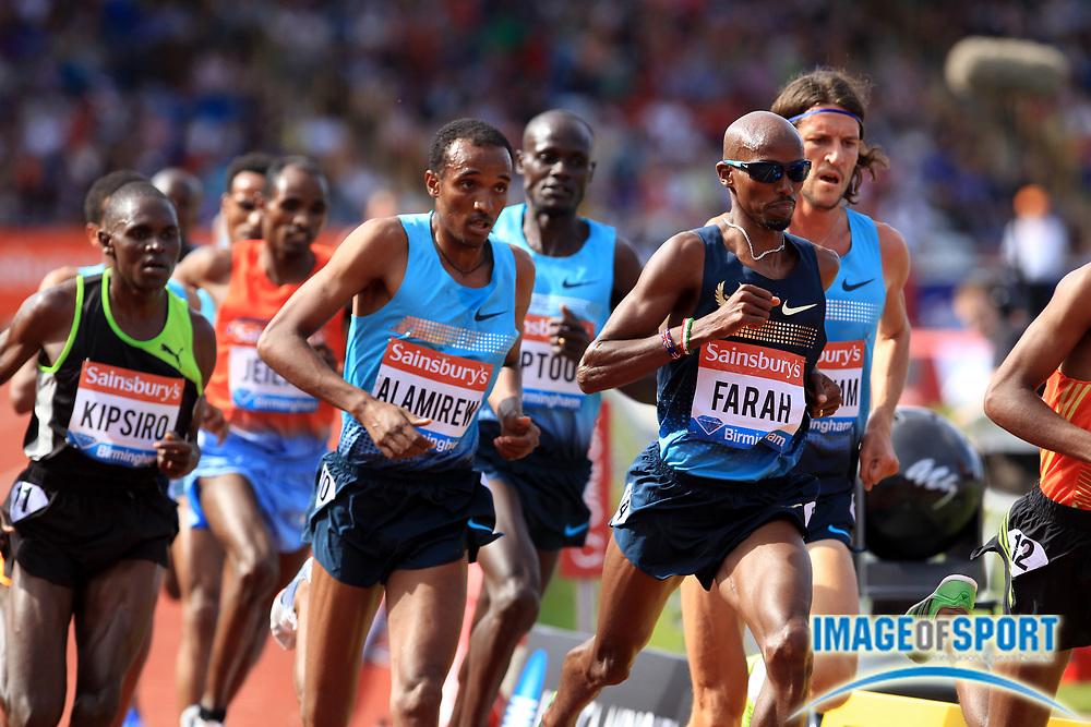 Jun 30, 2013; Birmingham, UNITED KINGDOM; Mo Farah (GBR) defeats Yenew Alamirew (ETH) to win the 5,000m, 13:14.24 to 13:14.71,  in the 2013 Sainsbury's Grand Prix at Alexander Stadium. Photo by Jiro Michozuki