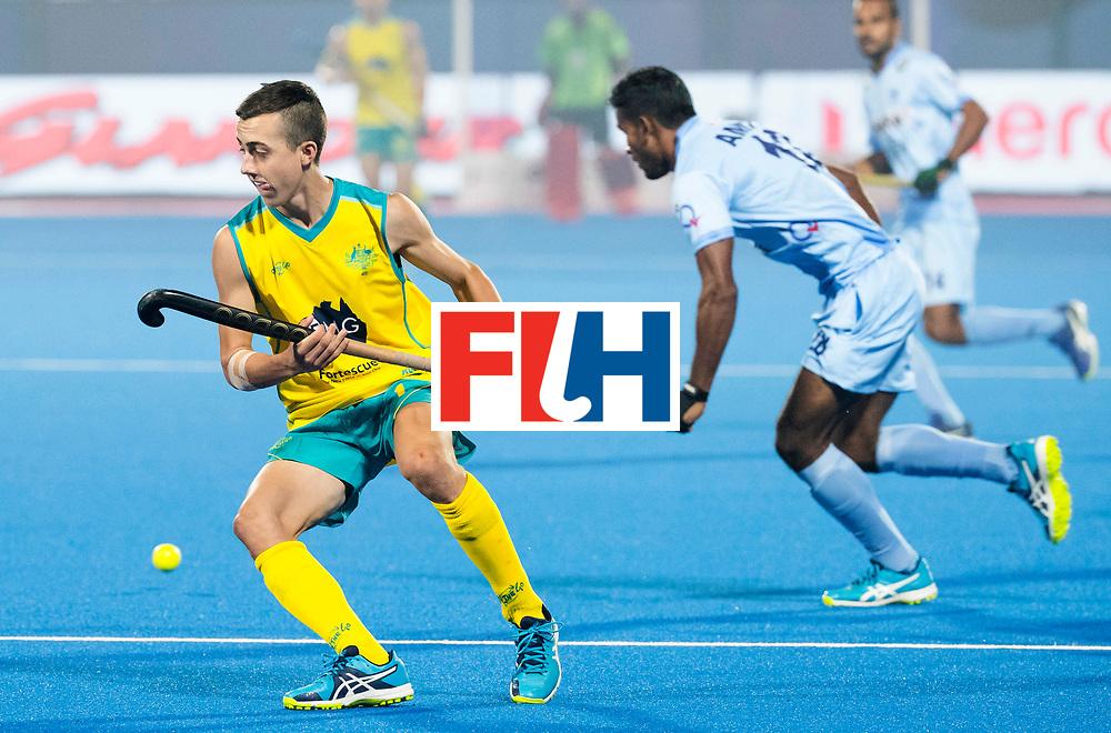 BHUBANESWAR - The Odisha Men's Hockey World League Final . Match ID 02. Australia v India. Lachlan Sharp (Aus) with Amit Rohidas (Ind)  . WORLDSPORTPICS COPYRIGHT  KOEN SUYK
