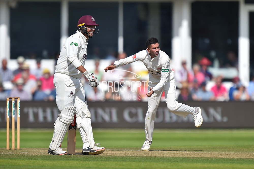 Keshav Maharaj of Lancashire bowling during the Specsavers County Champ Div 1 match between Somerset County Cricket Club and Lancashire County Cricket Club at the Cooper Associates County Ground, Taunton, United Kingdom on 5 September 2018.