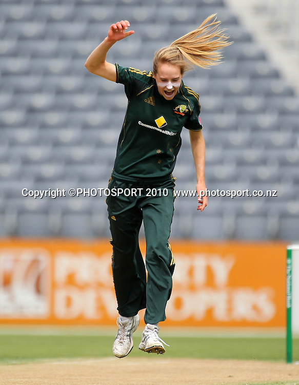 Australian bowler Elise Perry celebrates a wicket. Women's International Twenty20 cricket match - New Zealand White Ferns v Australia Southern Stars at AMI Stadium, Christchurch. Sunday 28 February 2010.