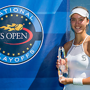 August 22, 2016, New Haven, Connecticut: <br /> Sophie Chang poses for a photograph with the trophy after winning the US Open National Playoffs women's singles finals match on Day 4 of the 2016 Connecticut Open at the Yale University Tennis Center on Monday August  22, 2016 in New Haven, Connecticut. <br /> (Photo by Billie Weiss/Connecticut Open)