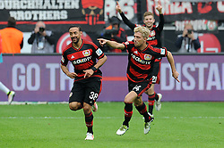 16.04.2016, BayArena, Leverkusen, GER, 1. FBL, Bayer 04 Leverkusen vs Eintracht Frankfurt, 30. Runde, im Bild V.l.n.r. Karim Bellarabi jubelt mit Torschuetze Kevin Kampl (beide Bayer 04 Leverkusen) ueber dessen Tor zum 1 : 0. // during the German Bundesliga 30th round match between Bayer 04 Leverkusen and Eintracht Frankfurt at the BayArena in Leverkusen, Germany on 2016/04/16. EXPA Pictures © 2016, PhotoCredit: EXPA/ Eibner-Pressefoto/ Thienel<br /> <br /> *****ATTENTION - OUT of GER*****