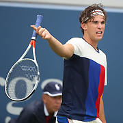 2017 U.S. Open Tennis Tournament - DAY TWO. Dominic Thiem of Austria in action against Alex de Minaur of Australia during the Men's Singles round one at the US Open Tennis Tournament at the USTA Billie Jean King National Tennis Center on August 29, 2017 in Flushing, Queens, New York City. (Photo by Tim Clayton/Corbis via Getty Images)
