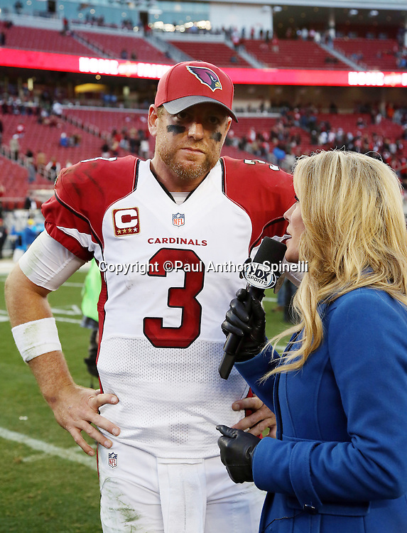 Arizona Cardinals quarterback Carson Palmer (3) does a postgame interview with FOX Sports sideline reporter Jennifer Hale after the 2015 week 12 regular season NFL football game against the San Francisco 49ers on Sunday, Nov. 29, 2015 in Santa Clara, Calif. The Cardinals won the game 19-13. (©Paul Anthony Spinelli)