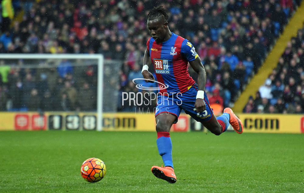 Pape Souare readies the cross during the Barclays Premier League match between Crystal Palace and Watford at Selhurst Park, London, England on 13 February 2016. Photo by Michael Hulf.