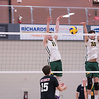 1st year middle Conal McAinsh (10) of the Regina Cougars in action during men's Volleyball home game on January 21 at Centre for Kinesiology, Health and Sport.Credit: Arthur Ward/Arthur Images