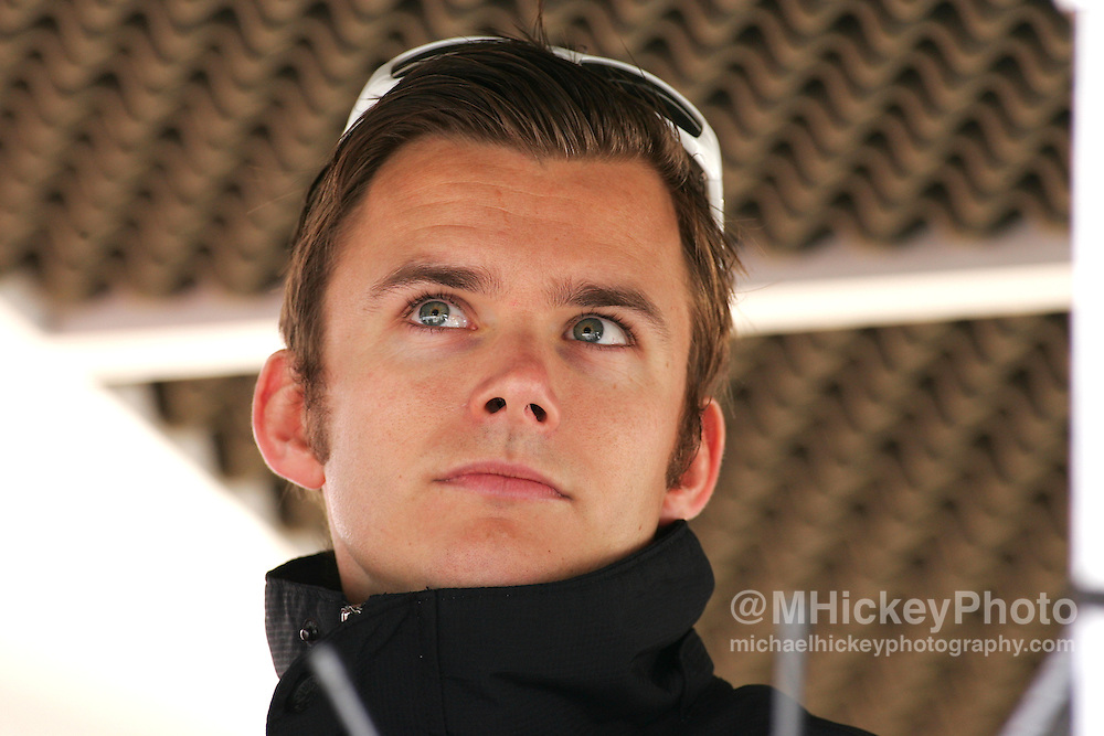 Dan Wheldon in the pit stall during practice for the Indianapolis 500 on May 14, 2006. Photo by Michael Hickey