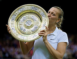 LONDON, ENGLAND - Saturday, July 5, 2014: Petra Kvitova (CZE) celebrates with the Venus Rosewater Dish trophy after winning the Ladies' Singles Final match on day twelve of the Wimbledon Lawn Tennis Championships at the All England Lawn Tennis and Croquet Club. (Pic by David Rawcliffe/Propaganda)