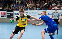 2019-04-23 | Jönköping, Sweden: HIF Karlskrona (4) Emil Lundin and IF Hallby HK (6) Robin Svensson during the qualifying game 4 to Swedish Handball League between IF Hallby HK and HIF Karlskrona at Idrottshuset ( Photo by: Marcus Vilson | Swe Press Photo )<br /> <br /> Keywords: Idrottshuset, Jönköping, Handball, Qualifying Game 4, IF Hallby HK, HIF Karlskrona, Sport