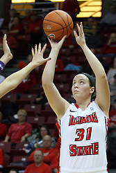 07 December 2012:  Maddie Oliver takes a shot during an NCAA women's basketball game between the Northwestern Wildcats and the Illinois Sate Redbirds at Redbird Arena in Normal IL