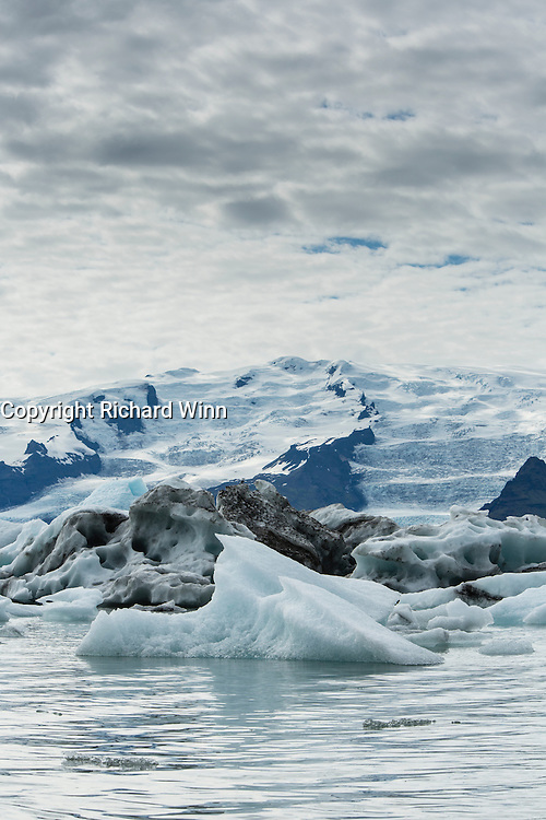 Jökulsárlón, the glacial lagoon formed by Vatnajokull in the southeast of Iceland.