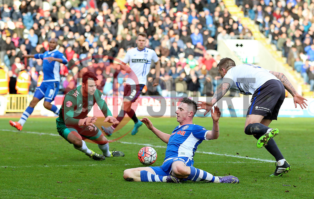 James Hooper of Rochdale is brought down in the penalty area - Mandatory byline: Matt McNulty/JMP - 06/12/2015 - Football - Spotland Stadium - Rochdale, England - Rochdale v Bury - FA Cup