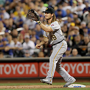 NEW YORK, NEW YORK - June 14:  John Jaso #28 of the Pittsburgh Pirates makes an out at first base during the Pittsburgh Pirates Vs New York Mets regular season MLB game at Citi Field on June 14, 2016 in New York City. (Photo by Tim Clayton/Corbis via Getty Images)
