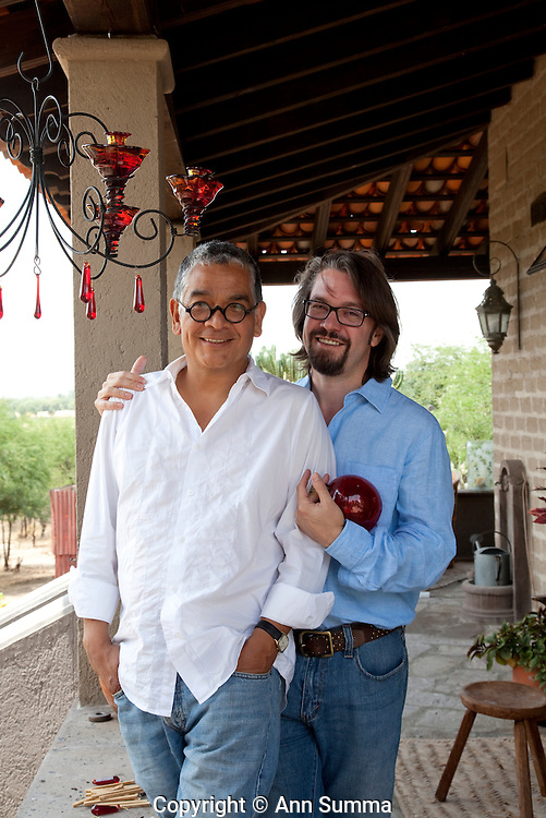 San Miguel de Allende, Mexico: newlyweds Alfredo Garcia Lucio (white shirt) and his partner, Jim McKeever (blue shirt) at their home outside of San Miguel Allende. (Photo: Ann Summa).