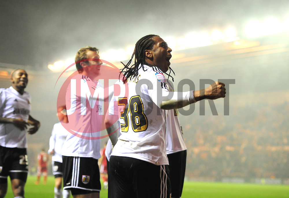 Bristol City's Neil Danns celebrates Bristol City's  win - Photo mandatory by-line: Joe Meredith/JMP  - Tel: Mobile:07966 386802 24/11/2012 - Middlesbrough v Bristol City - SPORT - FOOTBALL - Championship -  Middlesbrough  - River Side Stadium