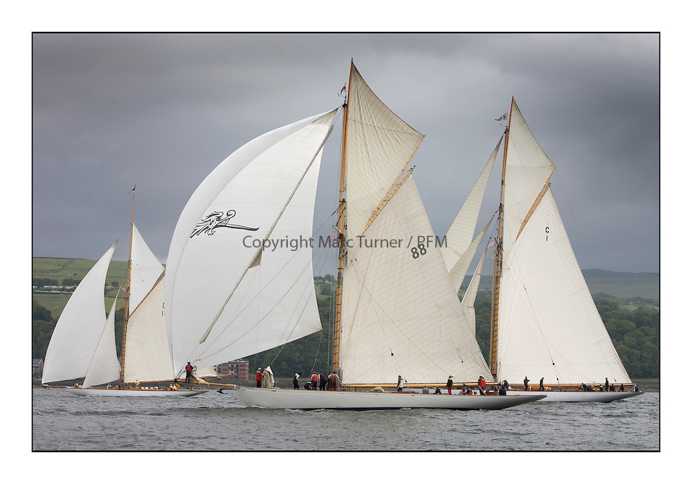 Moonbeam III 1903 Gaff Cutter with The Lady Anne and Mariquita...The final day's racing on the King's Course North of Cumbrae...* The Fife Yachts are one of the world's most prestigious group of Classic .yachts and this will be the third private regatta following the success of the 98, .and 03 events.  .A pilgrimage to their birthplace of these historic yachts, the 'Stradivarius' of .sail, from Scotland's pre-eminent yacht designer and builder, William Fife III, .on the Clyde 20th -27th June.   . ..More information is available on the website: www.fiferegatta.com . .Press office contact: 01475 689100         Lynda Melvin or Paul Jeffes