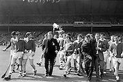 03/09/1967<br /> 09/03/1967<br /> 3 September 1967<br /> All-Ireland Minor Hurling Final: Cork v Wexford at Croke Park, Dublin.<br /> Cork captain, Paddy Ring, is chaired by his teammates after the presentation of the cup.