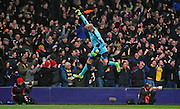 Heurelho Gomes celebrates Watford's opener during the Barclays Premier League match between Crystal Palace and Watford at Selhurst Park, London, England on 13 February 2016. Photo by Michael Hulf.