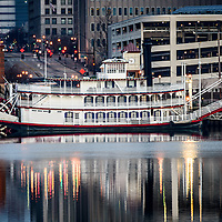 Picture of Spirit of Peoria Riverboat in Peoria Illinois. Buit is 1988, the Spirit of Peoria paddlewheel actually is used  for propusion and carries passengers along the Illinois River.