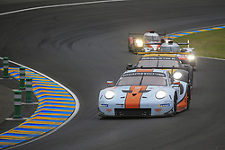 June 14, 2018 - Le Mans, FRANCE - 86 GULF RACING (GBR) PORSCHE 911 RSR GTE AM MICHAEL WAINWRIGHT (GBR) BENJAMIN BARKER (GBR) ALEXANDER DAVISON  (Credit Image: © Panoramic via ZUMA Press)