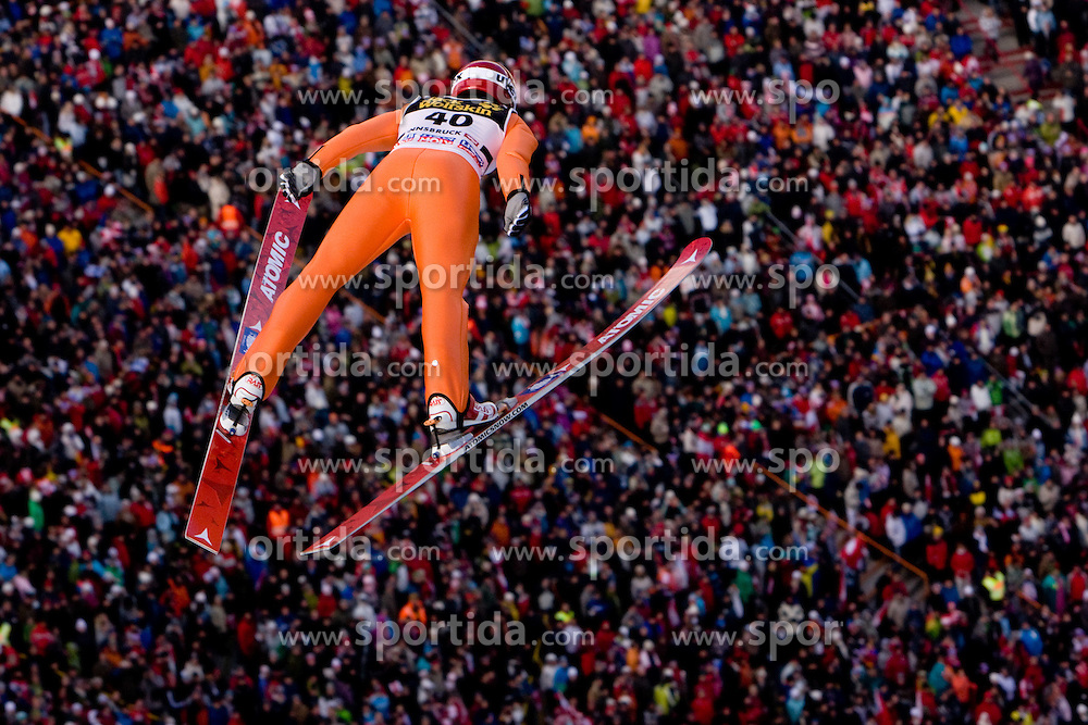 Matti Hautamaeki of Finland competes during First round of the FIS Ski Jumping World Cup event of the 58th Four Hills ski jumping tournament, on January 3, 2010 in Bergisel, Innsbruck, Austria.(Photo by Vid Ponikvar / Sportida)