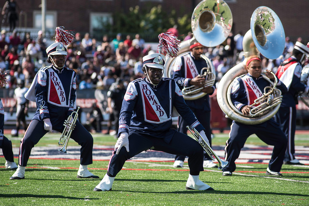 WASHINGTON,DC - October 7, 2017: GianCarlo (cq) Jerry, on trumpet, gets low during the halftime show.<br /> Howard University's Showtime Marching Band is part of a long tradition of outstanding bands at HBCU's. The band practices in the days leading up to a home game against North Carolina Central. (Andr&eacute; Chung for The Undefeated)