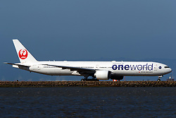 Boeing 777-346(ER) (JA732J) operated by Japan Airlines with the Oneworld livery taxiing at San Francisco International Airport (KSFO), San Francisco, California, United States of America