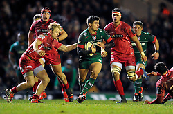 Ben Youngs of Leicester Tigers in possession - Photo mandatory by-line: Patrick Khachfe/JMP - Mobile: 07966 386802 16/01/2015 - SPORT - RUGBY UNION - Leicester - Welford Road - Leicester Tigers v Scarlets - European Rugby Champions Cup