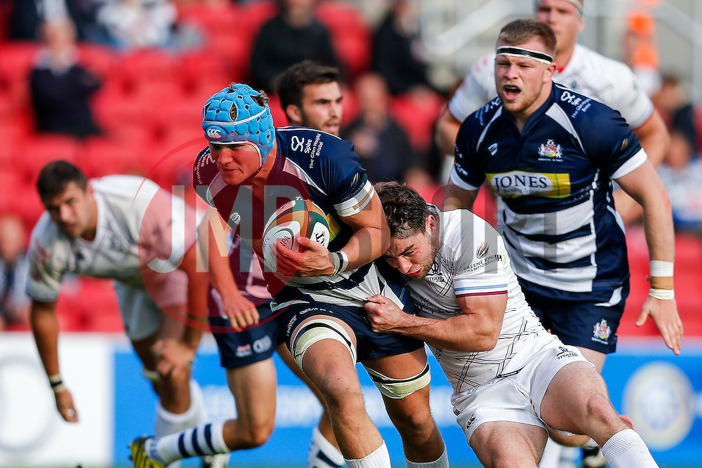 Bristol Rugby Flanker Olly Robinson is tackled - Mandatory byline: Rogan Thomson/JMP - 07966 386802 - 04/10/2015 - RUGBY UNION - Ashton Gate Stadium - Bristol, England - Bristol Rugby v Rotherham Titans - Greene King IPA Championship.
