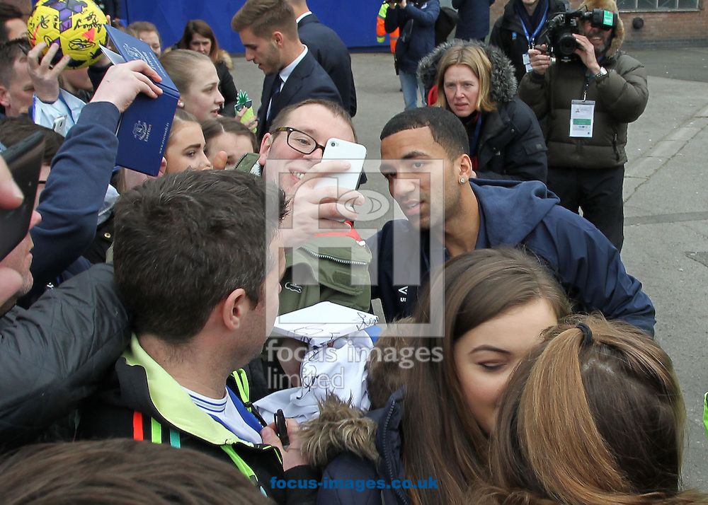 Aaron Lennon of Everton arrives at Goodison Park prior to the Barclays Premier League match against Liverpool.<br /> Picture by Michael Sedgwick/Focus Images Ltd +44 7900 363072<br /> 07/02/2015